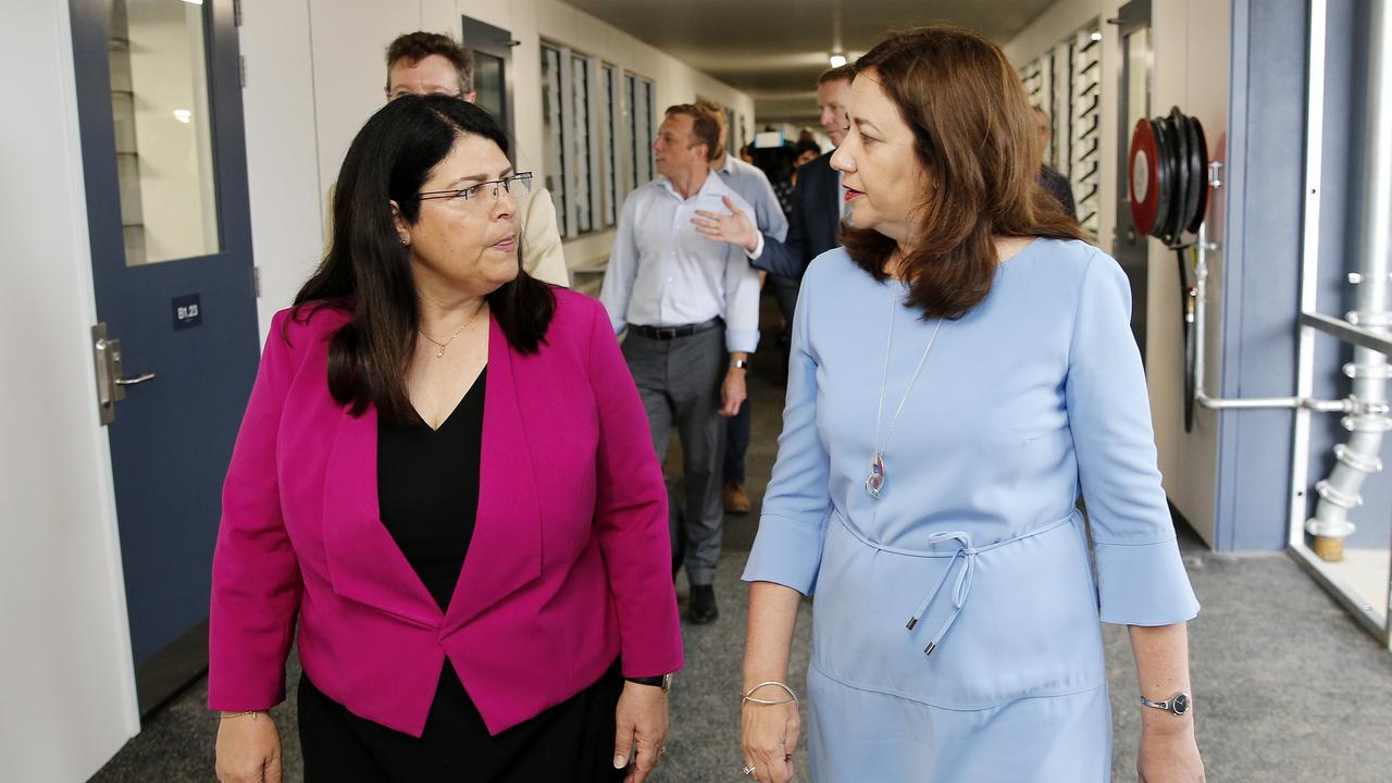 Education Minister Grace Grace and Premier Annastacia Palaszczuk at the brand new Mango Hill State Secondary College. The school is one of eight new schools to open in 2020. (AAP Image/Josh Woning)