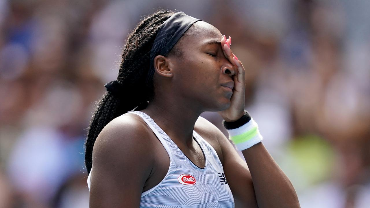 Coco Gauff reacts during her loss to Kenin. Picture: AAP/Michael Dodge