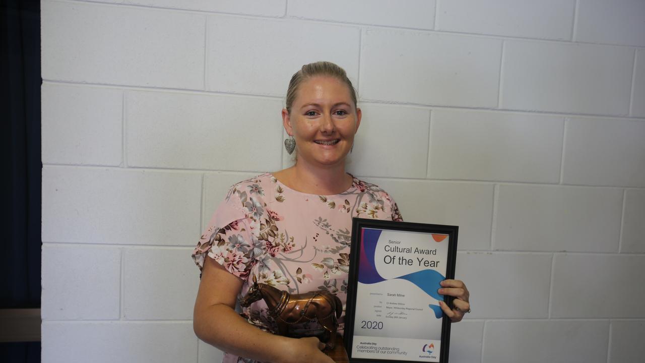 Collinsville Senior Cultural Award recipient Sarah Milne at the 2020 Whitsunday Regional Council Australia Day award ceremony.