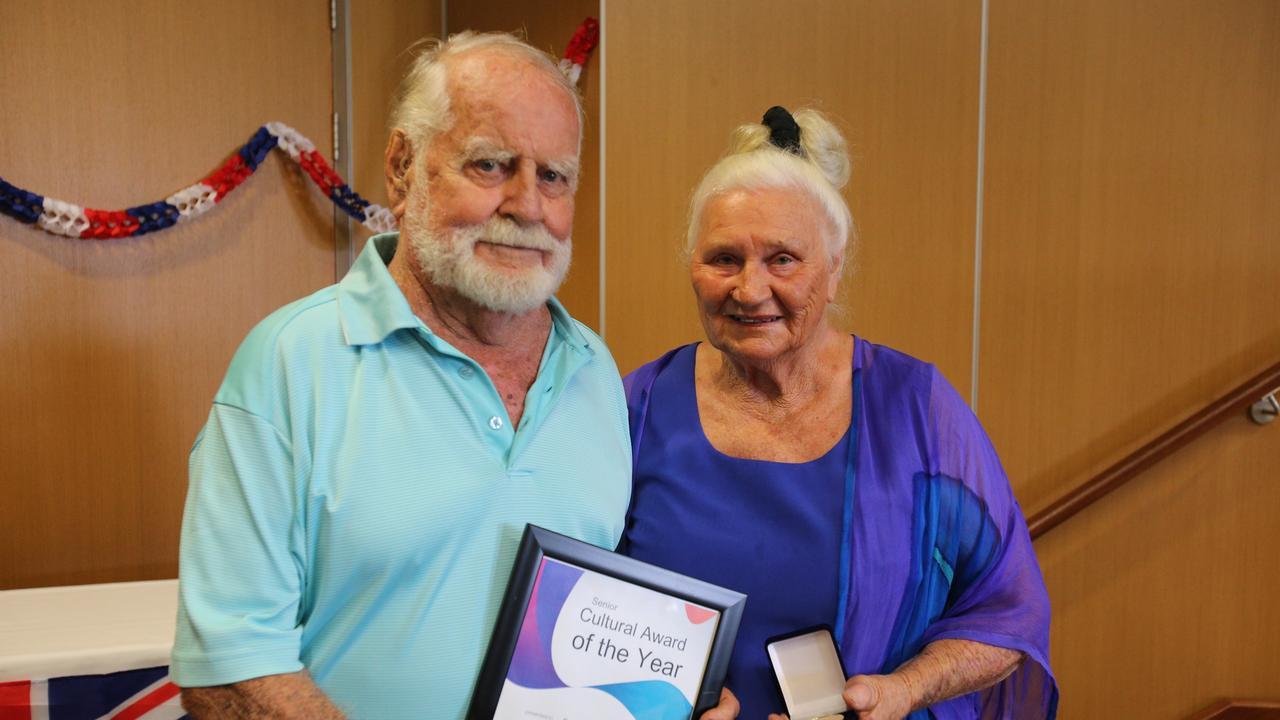 Bowen Senior Cultural Award recipients Patricia and Walter Hourn at the 2020 Whitsunday Regional Council Australia Day award ceremony.