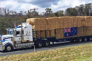 Ricky Lawson took this great shot of one of the trucks cruising down the highway laden with hay for drought-stricken farmers.
