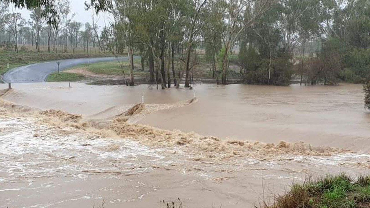 FLOWING: Theresa Creek Crossing on Monday morning. Photo by Maree Lawrence.