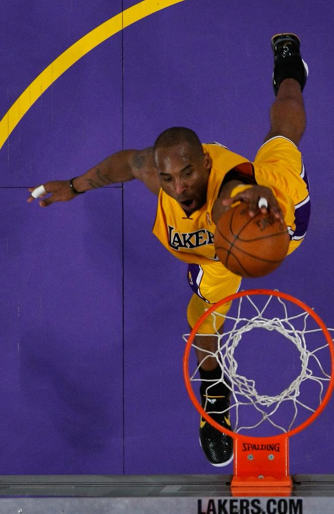 Kobe Bryant #24 of the Los Angeles Lakers dunks the ball with his left hand in the lane in the third quarter against the New Orleans Hornets in Game Five of the Western Conference Quarter finals in the 2011 NBA Playoffs on April 26, 2011 at Staples Center in Los Angeles. Picture: Getty