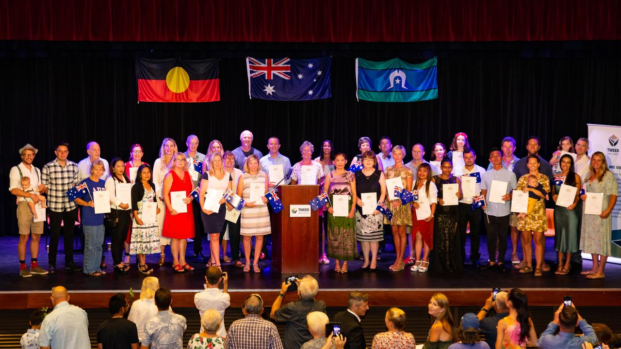 Some of the 48 people from 16 countries who received their Australian citizenship on Australia Day at Tweed Heads.
