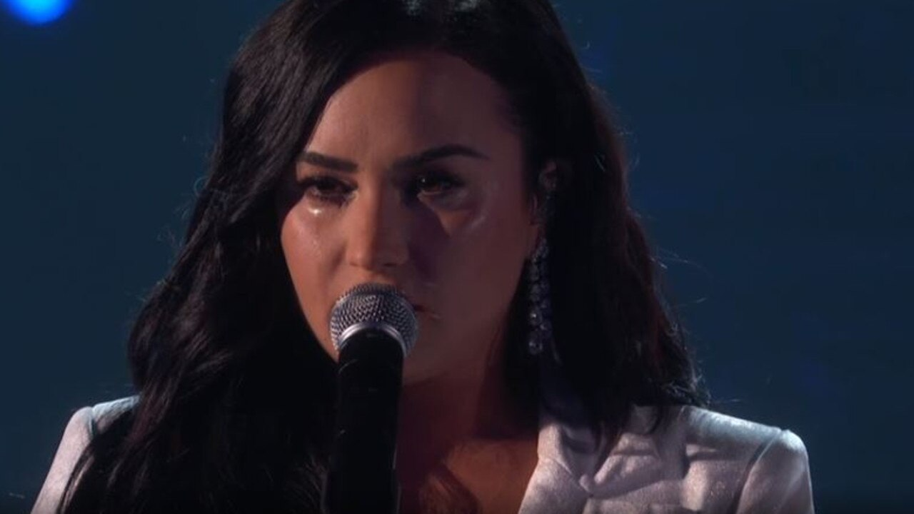 Demi Lovato had a tears streaming down her cheeks during her emotional Grammys performance. Picture: Foxtel.