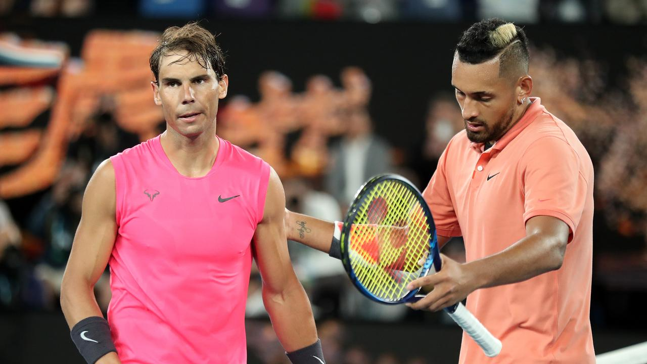 Nick Kyrgios (R) and Rafael Nadal (L) after their four-set epic. Picture: Jonathan DiMaggio/Getty