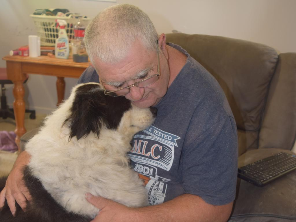 Peter McDowell and his dog Sonny. Mr McDowell was hospitalised on January 26 after a small fire started in his Borilla St unit kitchen.