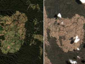 Eerie images show towns before and after bushfires