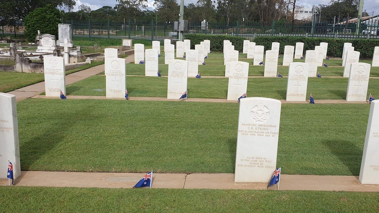 Hundreds of Australian flags were placed at gravesites in Ipswich.