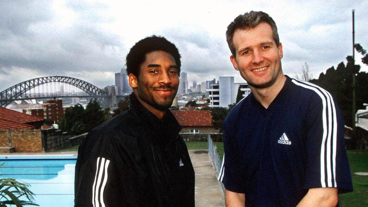 Kobe Bryant with Andrew Gaze in Sydney in 2008. Picture: Supplied