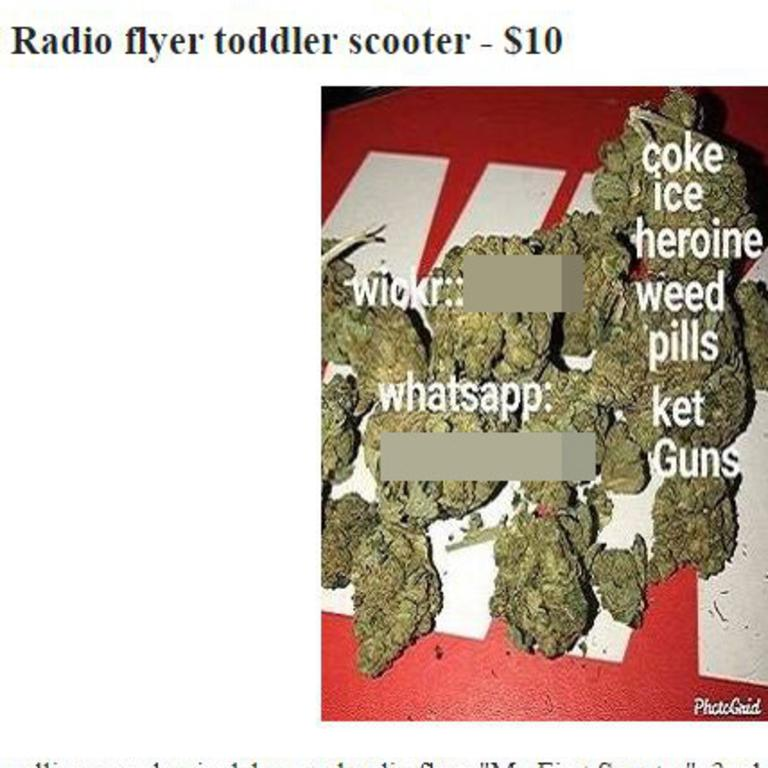 A range of drugs for sale under an ad for a toddler's scooter. Picture: Craigslist