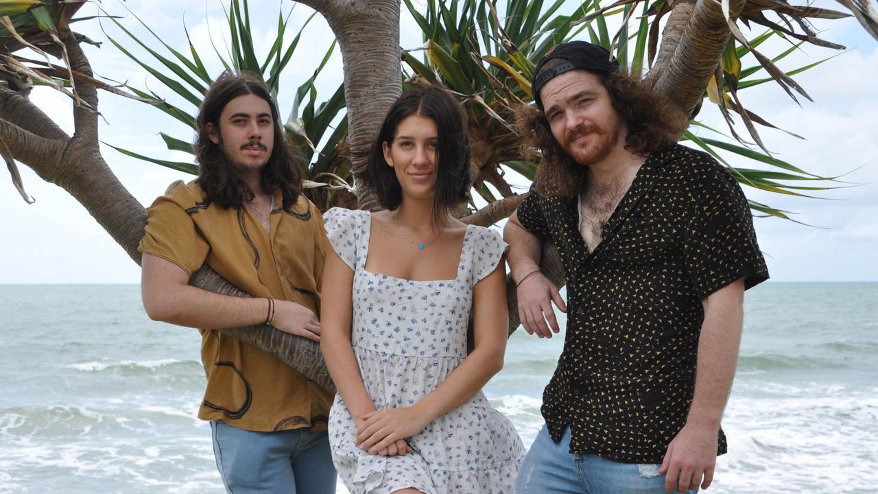 TALENTED: Jeremy, Maddy and Ben from Ava Kaydo on Main Beach Yeppoon.