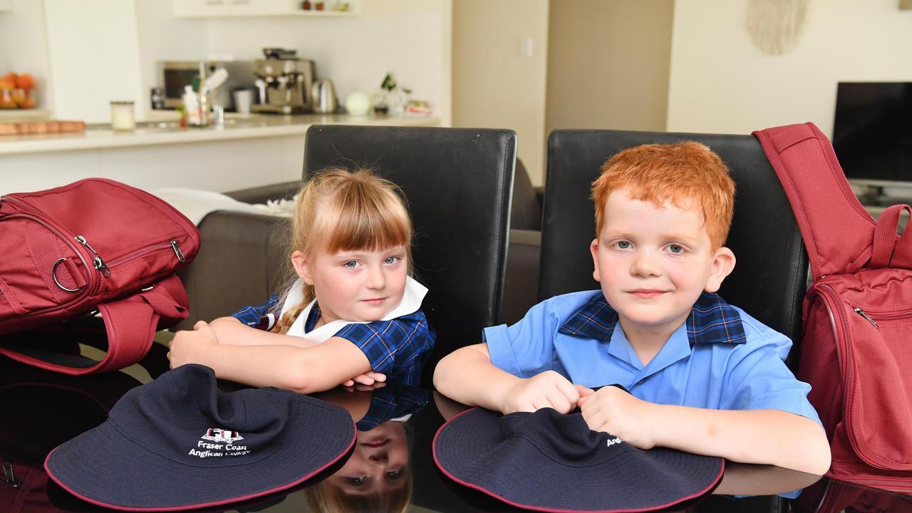 5 yr old twins Chloe and Mason Window from Wondunna ready to start prep school at Fraser Coast Anglican College. Photo: Alistair Brightman