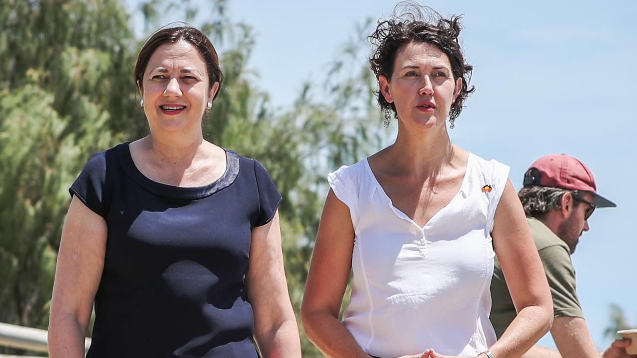 Premier Annastacia Palaszczuk introduces Tugun Labor candidate Kaylee Campradt. Picture: NIGEL HALLETT