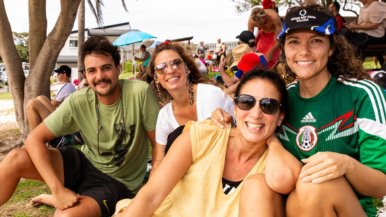 Alejandro Mancuzo, Vero Carobajal, Georgina Lettieri and Lorena Velasco enjoying Australia Day at the Shaws Bay swim.