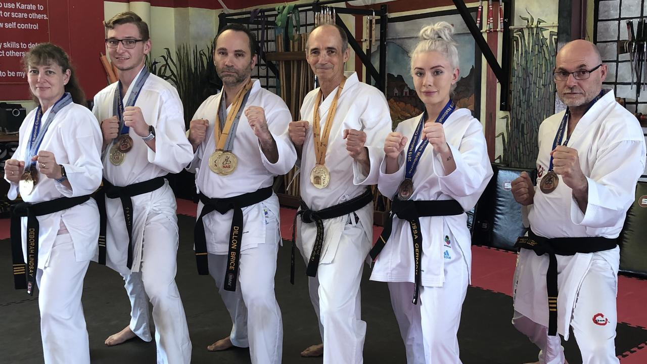 KARATE CHAMPIONS: Athletes L-R Deborah Lindsay, Christopher Lindsay, Dillon Bryce, Richard Marlin, Melissa-Rae German, Brett O'Driscoll from Success Martial Arts in Lismore showed their style at the Australian National Martial Arts Championships in Melbourne.