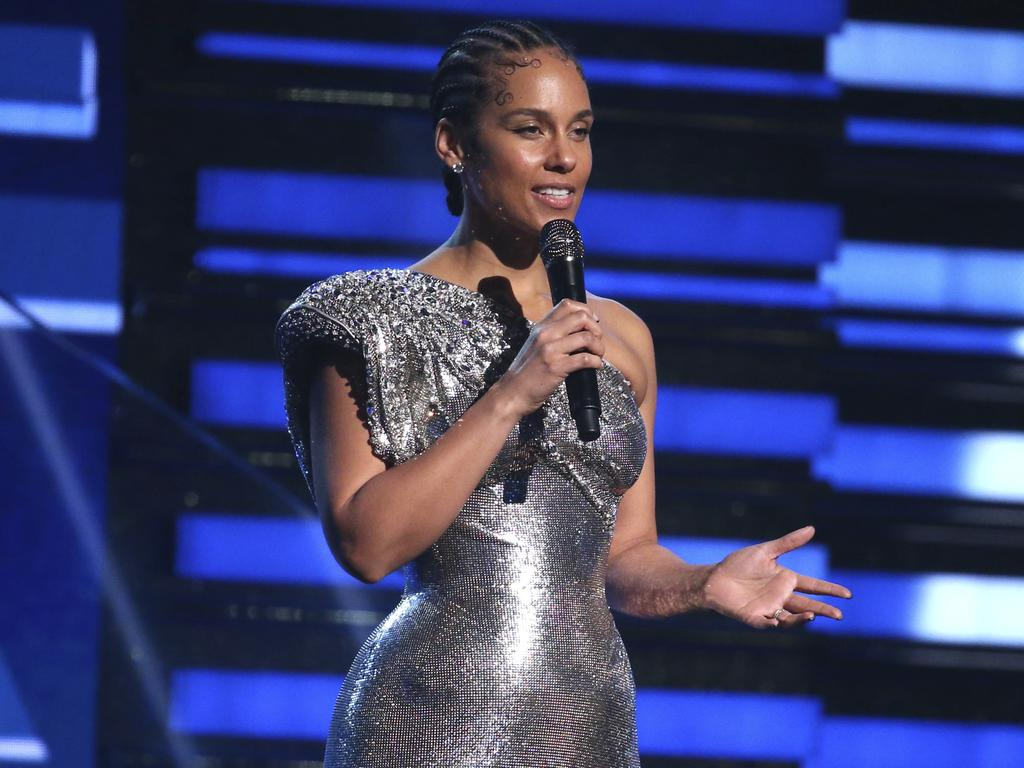 Alicia Keys was visibly emotional as she discussed the NBA stars's shock death. Picture: Invision