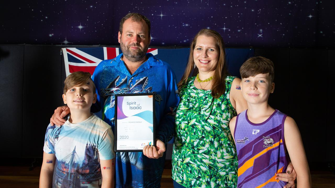RECOGNISED: The special award for the Spirit of Isaac was presented to Dysart's Pearce family, Heath, Kevin, Jasmine and Dean, at the Australia Day award ceremony.