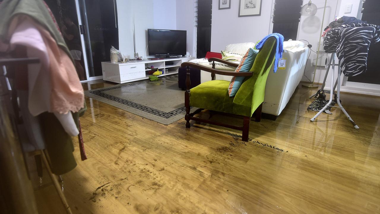 Residents in a unit complex in Alexandra Street, North Ward were hit by flash flooding during monsoonal rain in Townsville. PICTURE: MATT TAYLOR.