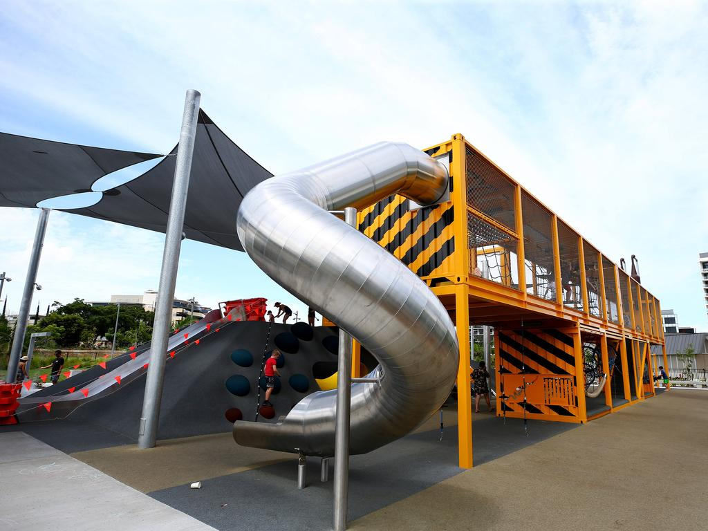 Parents say shade sails fail to cover the metal slides in the afternoon, making them blistering hot for children in the new Hercules Street Park in Hamilton. Photo: Adam Head.