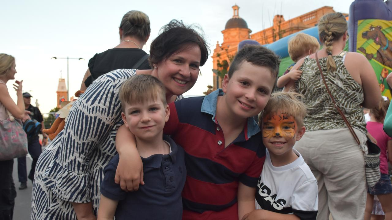 ENJOYING THE ENTERTAINMENT: Thomas, 5, Natalie and Joseph, 7, Carey with Joshua Malone, 6 get involved with the Great Australian Bites activities.