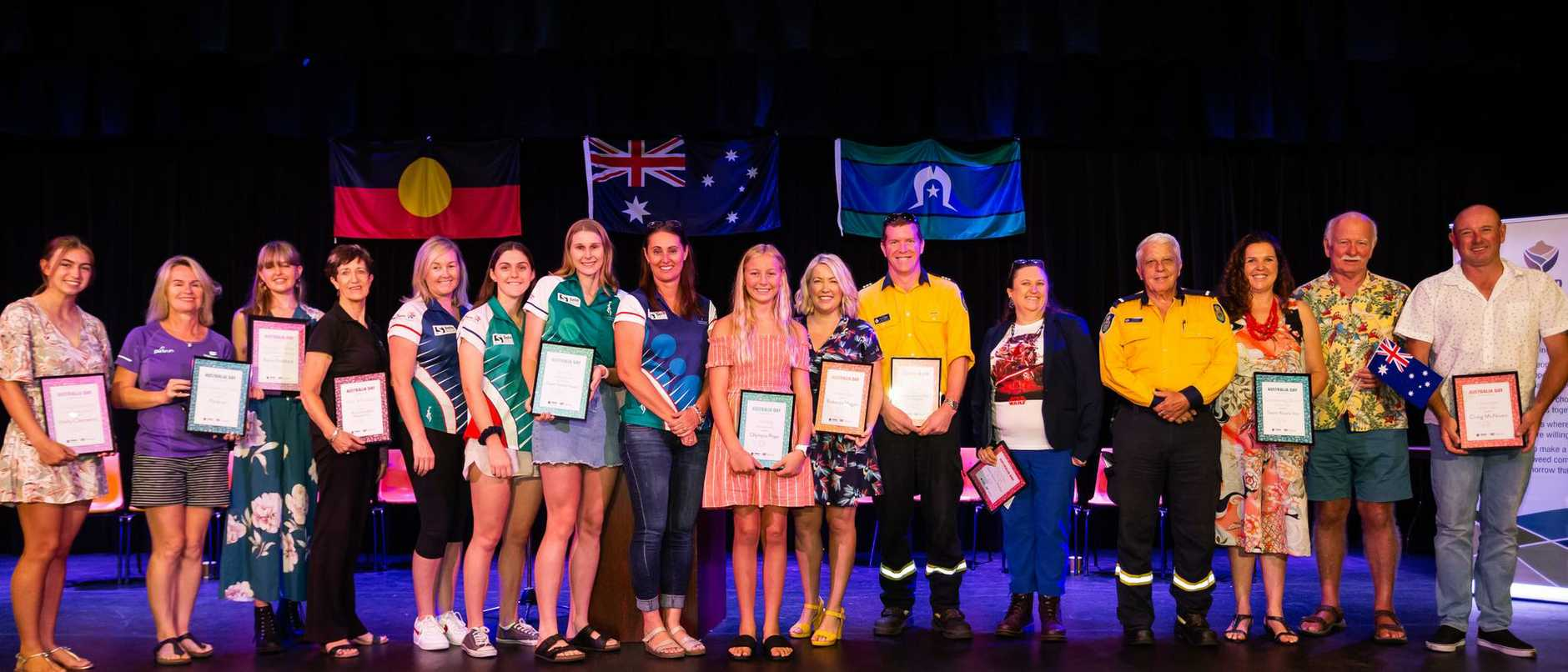 Tweed Shire Australia Day Award winners, including recipients of Honourable Mention awards. Photo: SUPPLIED
