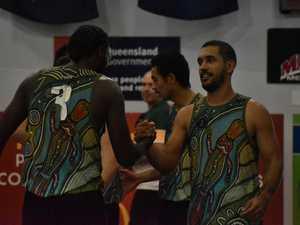 Asteroids players TJ Diop and Chris Cedar celebrate