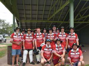 Ross' XI players during the Australia Day cricket