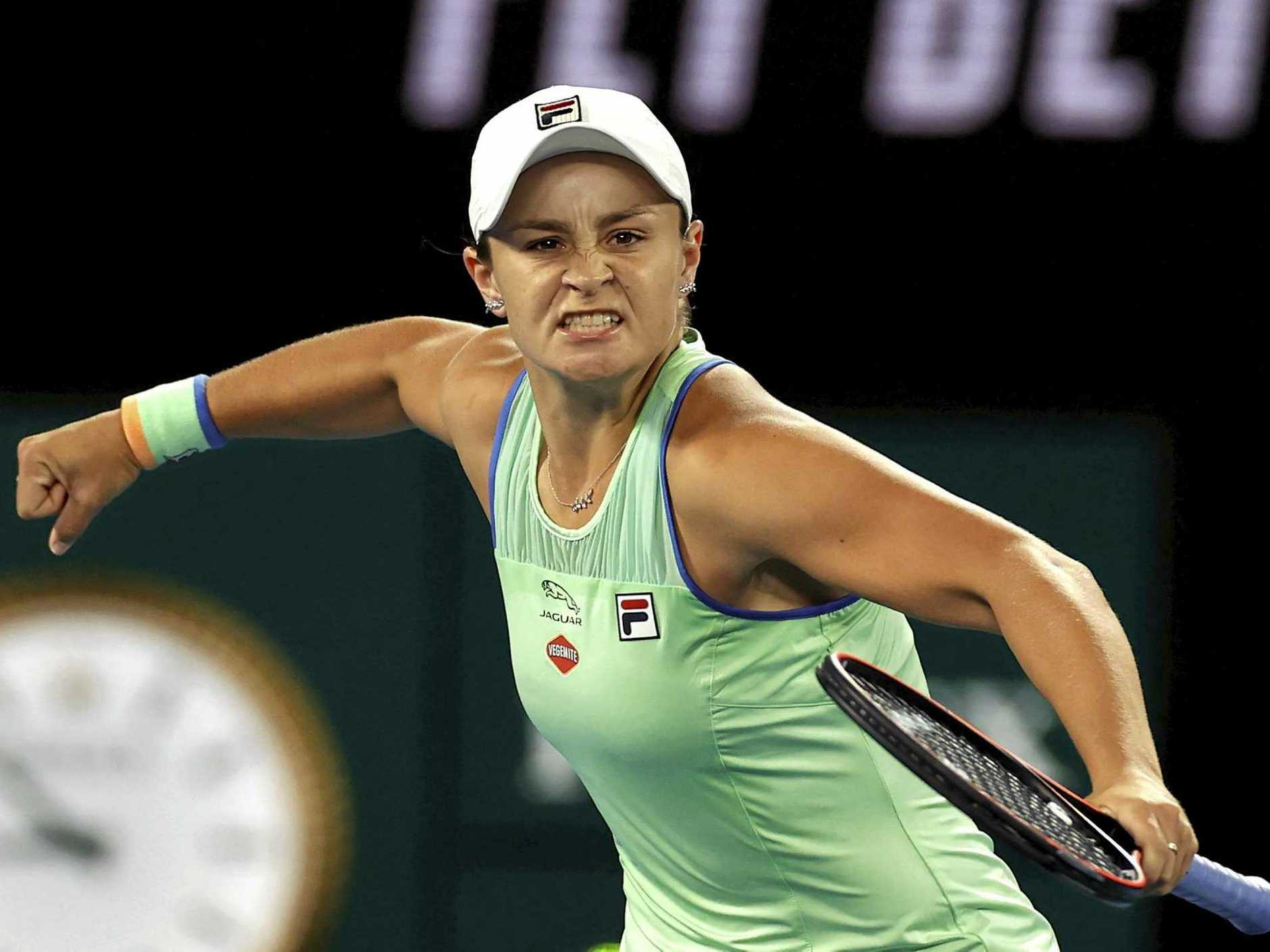 Ashleigh Barty is pumped after beating Alison Riske in their fourth-round singles clash at the Australian Open.  Picture: Andy Wong/AP