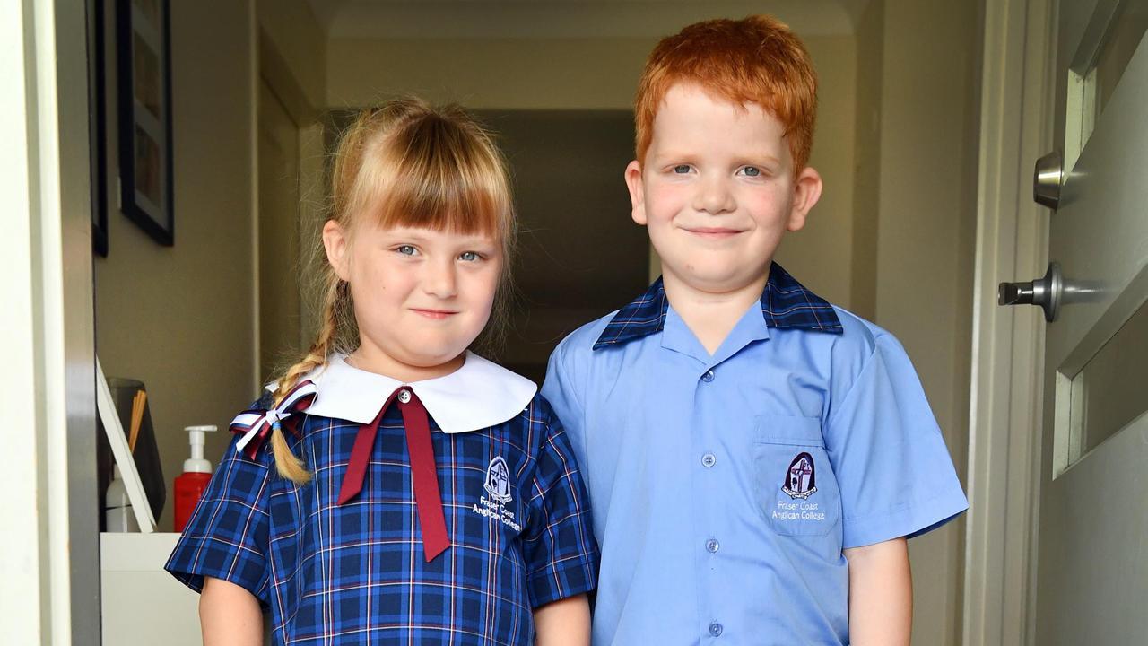 5 yr old twins Chloe and Mason Window from Wondunna ready to start prep school at Fraser Coast Anglican College.Photo: Alistair Brightman