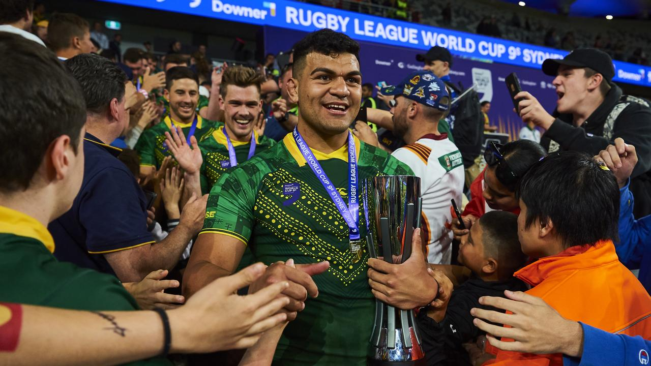 David Fifita was dominant for Australia at the Rugby League World Cup 9s. Picture: Getty Images