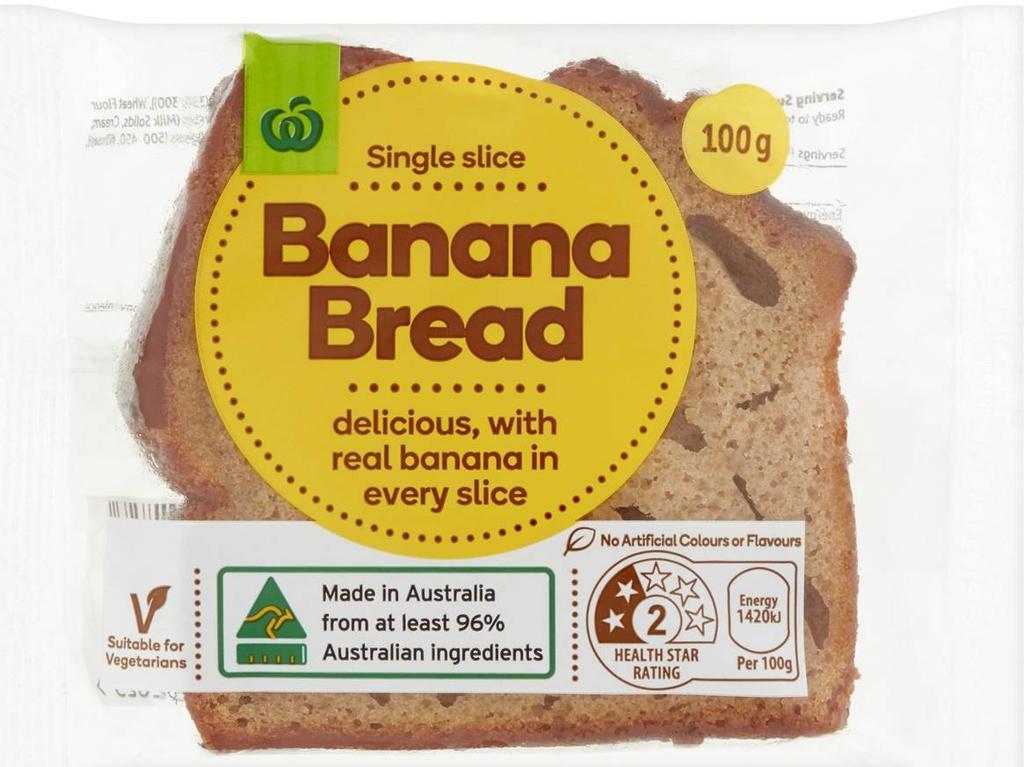 Woolworths Banana Bread, single slice.