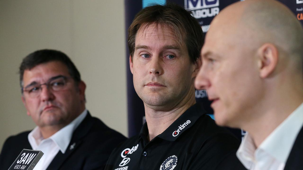 David Teague (centre) is announced as Carlton's new coach, alongside Mark Logiudice and CEO Cain Liddle. Picture: Michael Klein