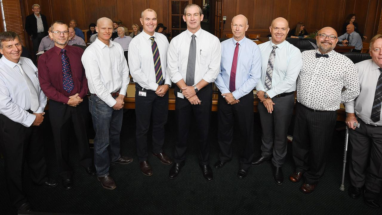 Gympie Council Hilary Smerdon, Dan Stewart, Glen Hartwig, Bob Leitch, Mick Curran, Bob Fredman, Mal Gear, Daryl Dodt and Mark McDonald.