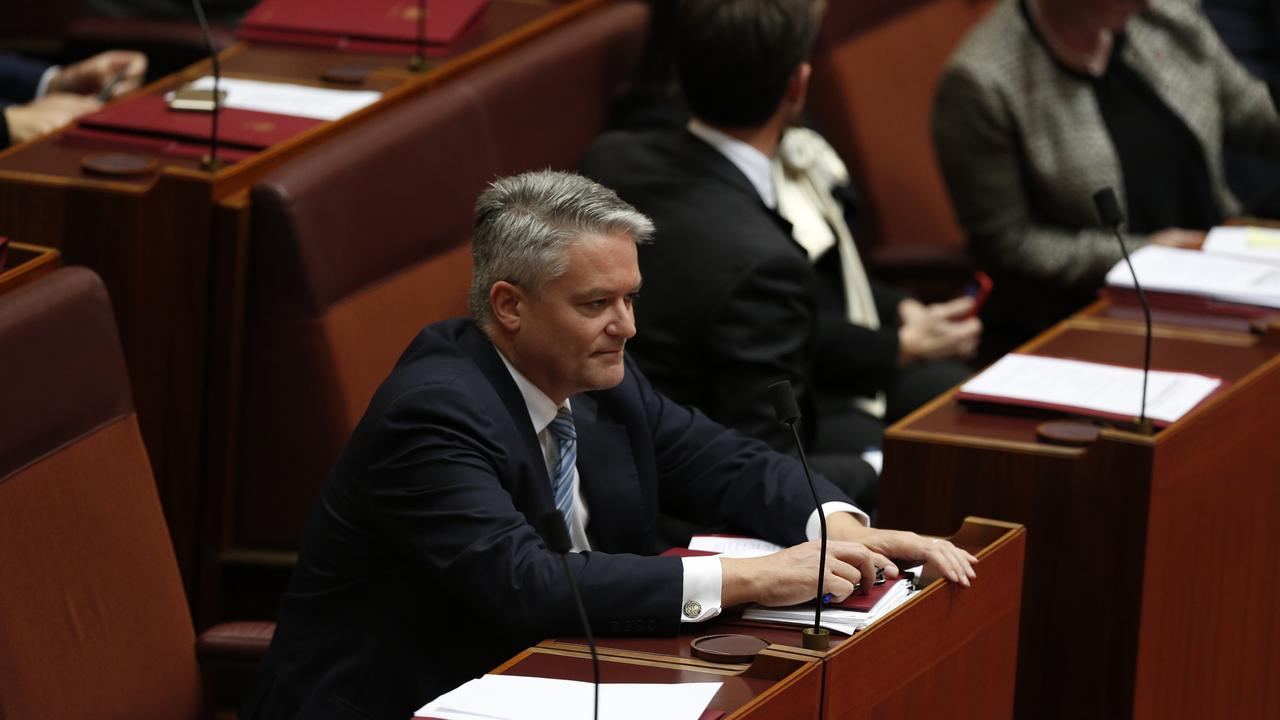 "In 2018, Mathias Cormann and other Coalition senators claimed their support for the ""it's OK to be white"" bill was an administrative error. Picture: Sean Davey"