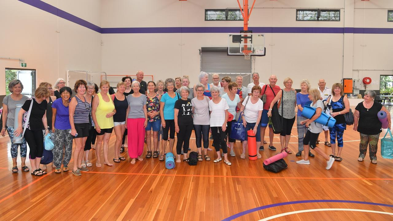 COMMUNITY: Sippy Downs resident Myra Timmerman first started yoga in 1980 and today her class has more than 150 registered attendees at the Maroochydore Basketball Stadium.