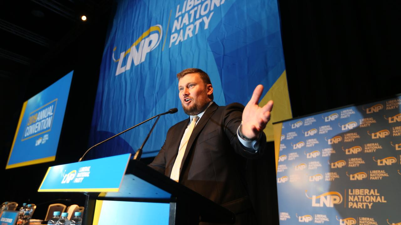 LNP President David Hutchinson in full flight at the LNP conference at RNA Convention Centre in Brisbane last July. Maroochydore MP Fiona Simpson has said he needed to choose between the party and a contract with Clive Palmer at his Coolum resort. Photo: AAP Image/Richard Gosling