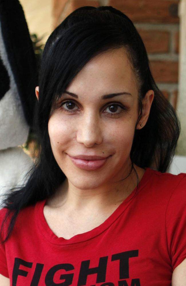 Nadya Suleman made headlines in 2009 after she became pregnant with octuplets following IVF treatment. Picture: AP Photo/Damian Dovarganes