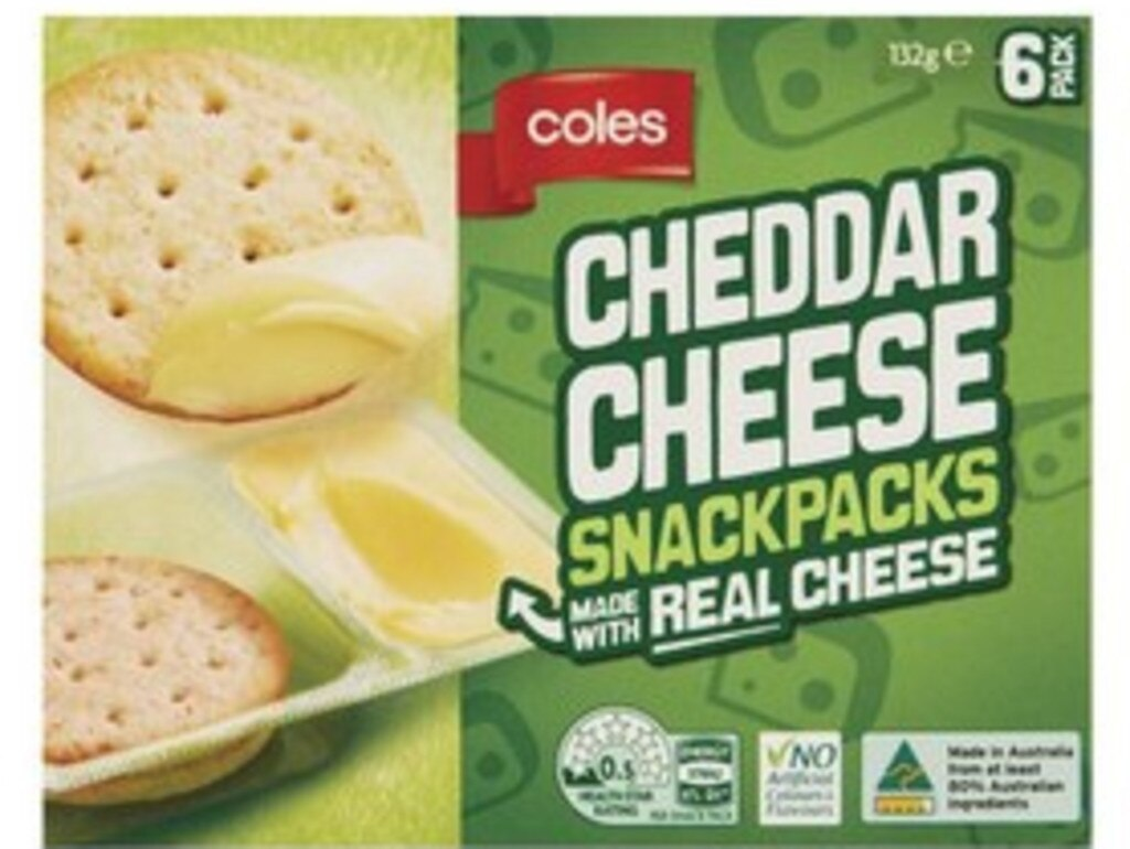 Coles Cheddar Cheese Snackpacks
