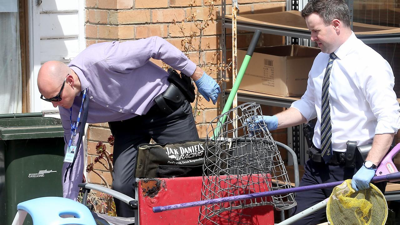 Detectives at the scene of the alleged murder in Whittington. Picture: Glenn Ferguson