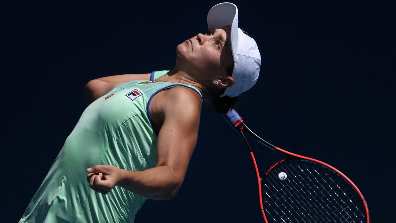 Ash Barty winds up a serve in her straight sets win. Picture: Michael Klein