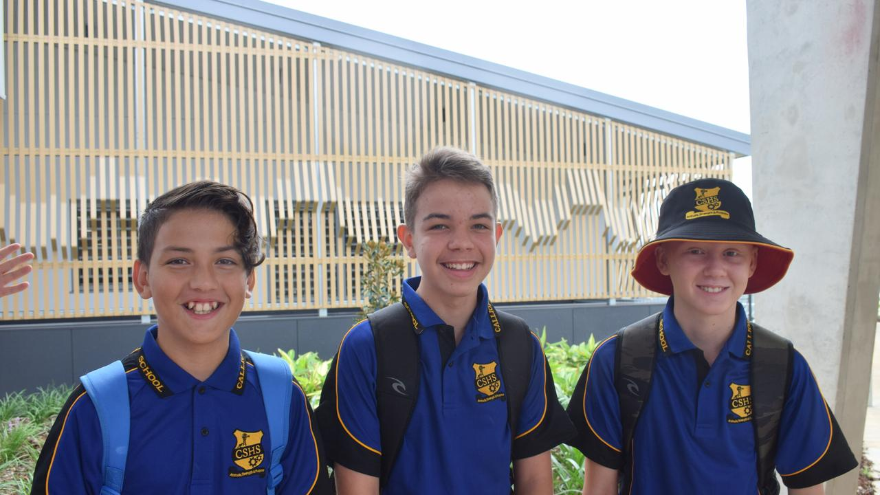 Arian Raghoobar, 13, Coen Figueireda, 13, and Ryder Jeffrey, 12, are excited for their first day of high school at Calliope State High School