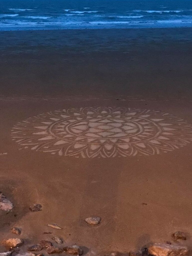 Carolyn Joy shared this photo of a young girl making mandala art at Farnborough Beach on the weekend.