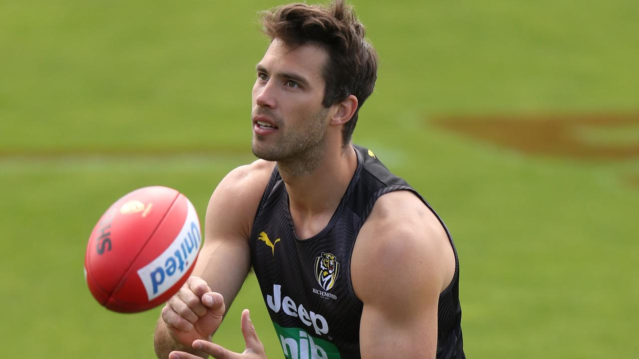 MELBOURNE, AUSTRALIA - DECEMBER 02: Alex Rance of the Tigers in action during the Richmond Tigers training session at Punt Road Oval on December 02, 2019 in Melbourne, Australia. (Photo by Michael Willson/AFL Photos via Getty Images)