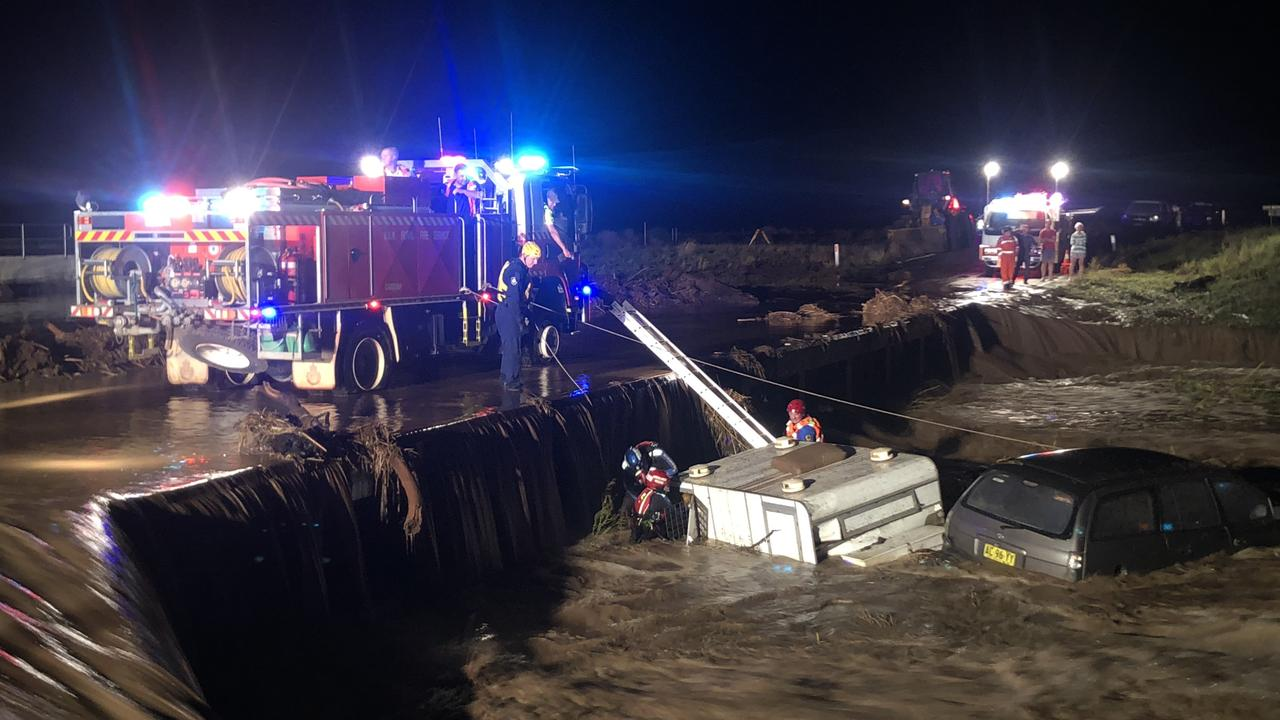 The car and trailer washed off a flooded causeway. Picture: Supplied