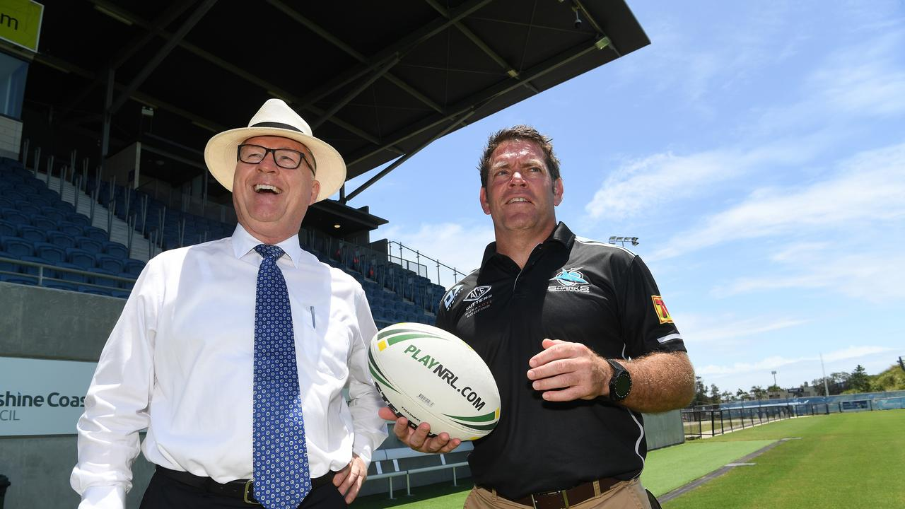 Sharks legend Brett Kimmorley visits Sunshine Coast Stadium ahead of NRL game between the Sharks and Cowboys. Brett is pictured with Mayor Mark Jamieson (left).