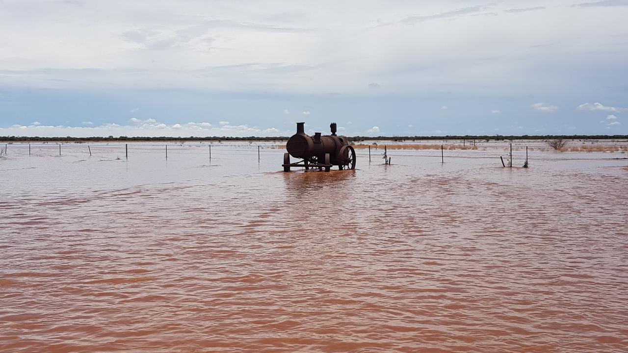 A flooded paddock at Oban Station in Mount Isa, it was believed to be the wettest January in a decade. Picture: Grant Lowe