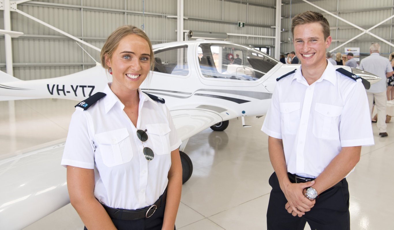 Student pilots Kimberley Pike and Thomas Fanshawe . Official opening of Qantas Group Pilot Academy at Wellcamp Airport. Wednesday, 29th Jan, 2020.
