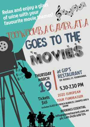 Enjoy a glass of bubbly and canapes at Gip's, whilst award-winning orchestra Toowoomba Camerata entertains you with music from your favourite movies!
