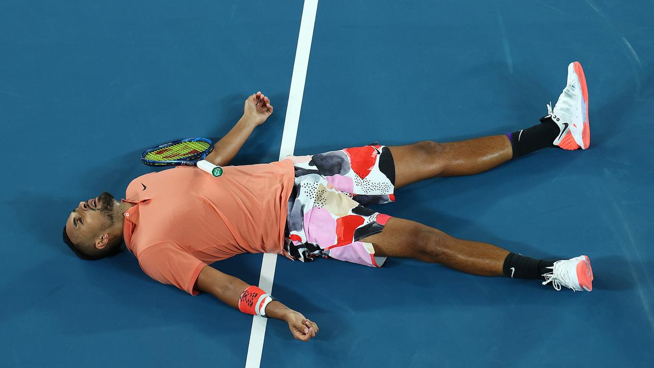 Nick Kyrgios lays on the court after losing a point during his men's singles fourth round match against Rafael Nadal of Spain on day eight of the 2020 Australian Open at Melbourne Park on January 27. Picture: Cameron Spencer/Getty Images